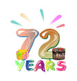 72 years birthday design for greeting cards vector image vector image