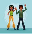 80s couple dancing cartoon vector image