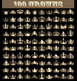 a large set vintage gold 100 crown and diadems vector image