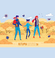 autumn 2020 four membered happy family banner vector image vector image