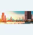 beautiful city on sunset panorama with high vector image vector image