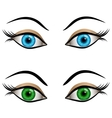 Blue and green female eyes vector image vector image