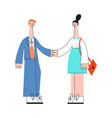 business man and woman shaking hands in flat style vector image