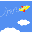 cartoon plane dash word love in sky love card vector image