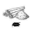 cinnamon stick and powder drawing hand vector image