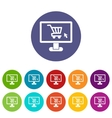 Computer monitor with shopping cart set icons vector image vector image