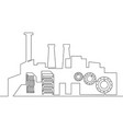 continuous one line factory concept vector image