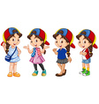 Cute girl in different outfit vector image vector image
