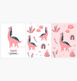cute pink dino set little vector image