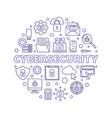 cybersecurity circular concept outline vector image