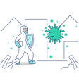 doctor with hazmat protective suit carry shield vector image vector image