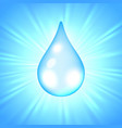 drop of water on sunburst background vector image