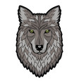 embroidery wolf head patch vector image vector image