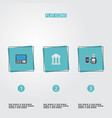 flat icons remote paying bank atm and other vector image vector image