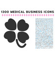 four-leafed clover icon with 1300 medical business vector image