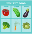 fresh vegetables concept healthy diet flat style vector image vector image