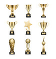 golden trophy cups collection isolated on white vector image vector image
