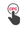 hand presses the button with text cpc vector image