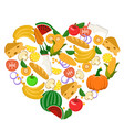 heart lined with vegetables fruits bread and vector image
