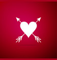 heart with arrow icon isolated on red background vector image