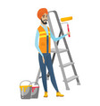hindu house painter holding paint roller vector image