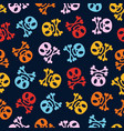 holiday skulls pattern cartoon color style vector image