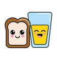 kawaii happy halved bread and juice glass vector image vector image