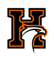 letter h with eagle head vector image vector image
