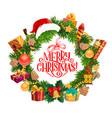 merry christmas greeting fir wreath and santa hat vector image