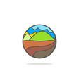 mountain village nature logo vector image vector image
