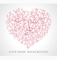 musical heart with notes vector image vector image
