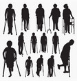 patient with crutch silhouettes vector image