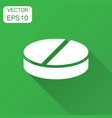 pill icon in flat style tablet with long shadow vector image