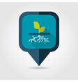 Plant with roots flat pin map icon garden vector image vector image