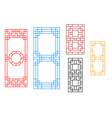 rectangle chinese window with pattern vector image vector image