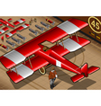 Red biplane vector image vector image