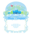 Santa Claus flying over city - Abstract Christmas vector image