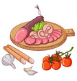 sausages on white background vector image vector image