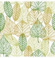 Seamless pattern of outline autumnal leaves vector image