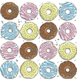 seamless pattern with color donuts vector image vector image