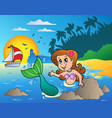 seascape with swimming mermaid vector image