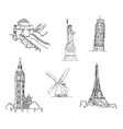 Set of famous world landmarks vector image vector image