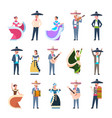 set of mexican people in traditional costumes vector image vector image