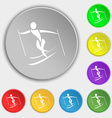 Skier icon sign Symbol on eight flat buttons vector image vector image