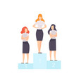 successful businesswomen standing on pedestal vector image vector image