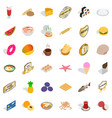 tasty dishes icons set isometric style vector image vector image