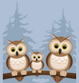 three owls on a branch vector image vector image