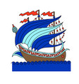 turkish ship decorative drawing in old fashion vector image