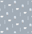 winter seamless pattern with polar bear vector image