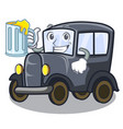 with juice old cartoon car in side garage vector image vector image